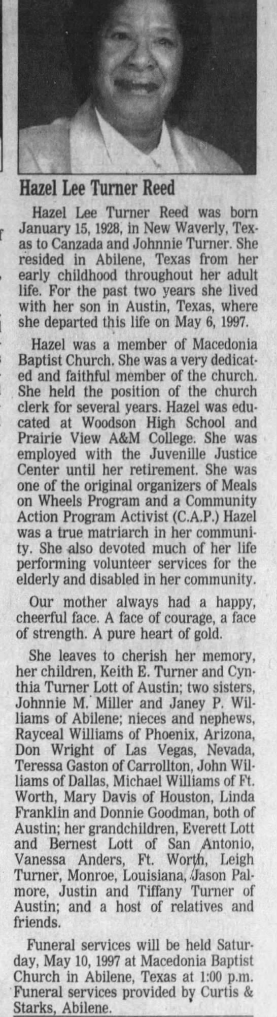 Obituary For Hazel Lee Turner Reed 1928 1997 Newspapers Com