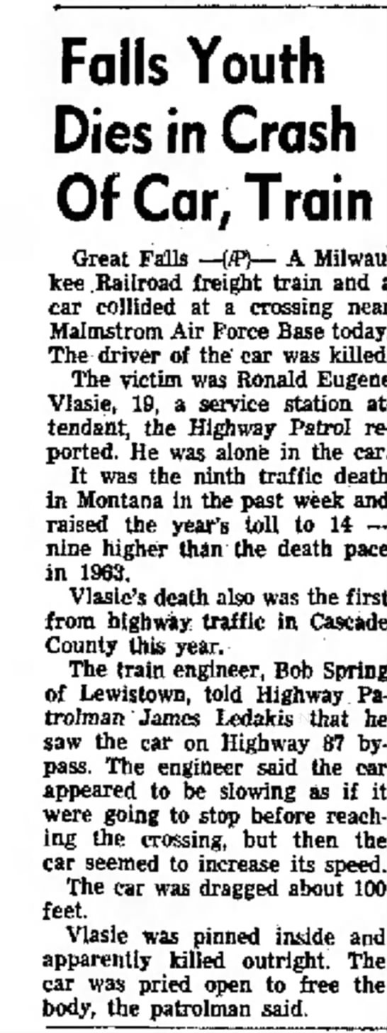 Ronald Eugene Vlasie Death Train/Car Crash - 29 Jan 1964, Helena, MT -