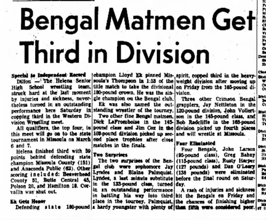 - Bengal Mat men Get Third in Division smU to...