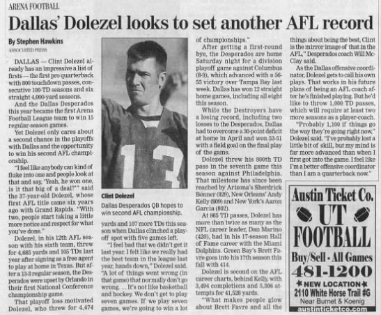 Dallas' Dolezel looks to set another AFL record -