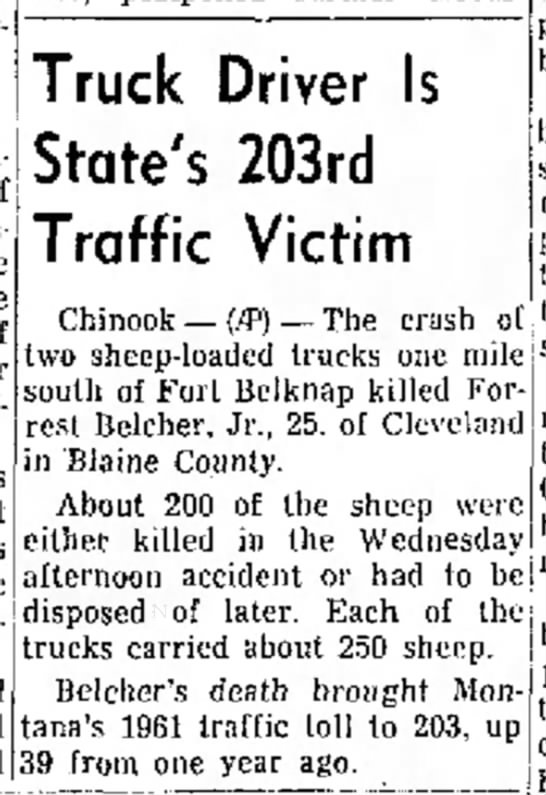 Newspaper article about Forrest Belcher, Jr. death -