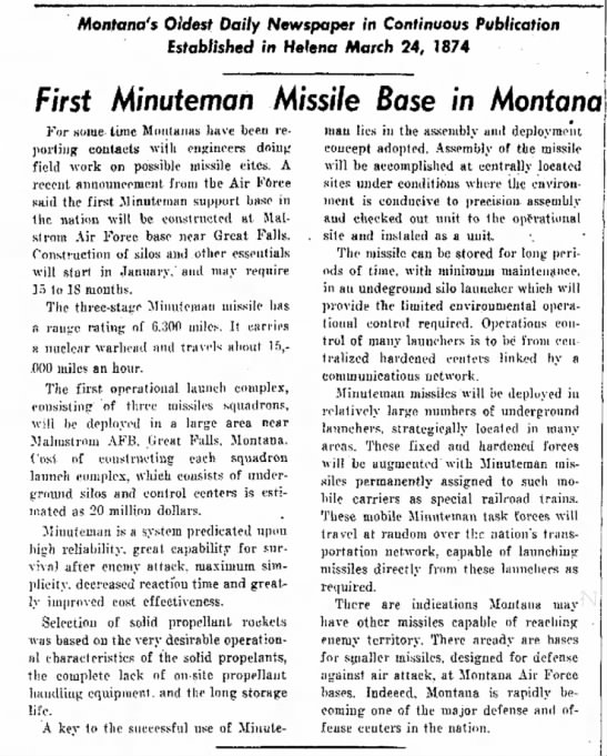 US' first nuke missile built in Montana -