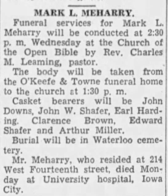 Mark L Meharry - Funeral Announcement -