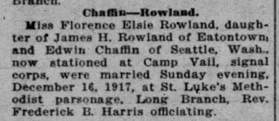 Elzie Chaffin and Florence Rowland Wed -