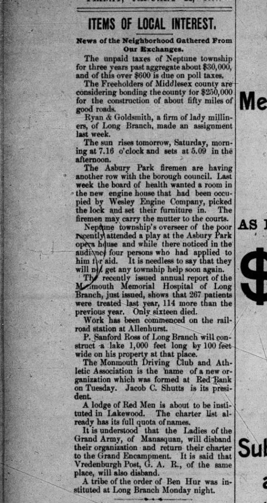 Allenhurst, January 22, 1897 -