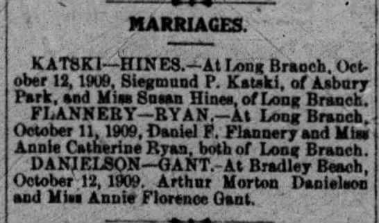 Daniel F Flannery and Annie Catherine Ryan Marriage Oct. 11, 1909 -