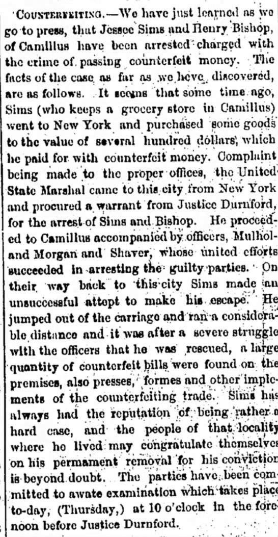 Jesse Sims Arrested - 12 May 1859 -