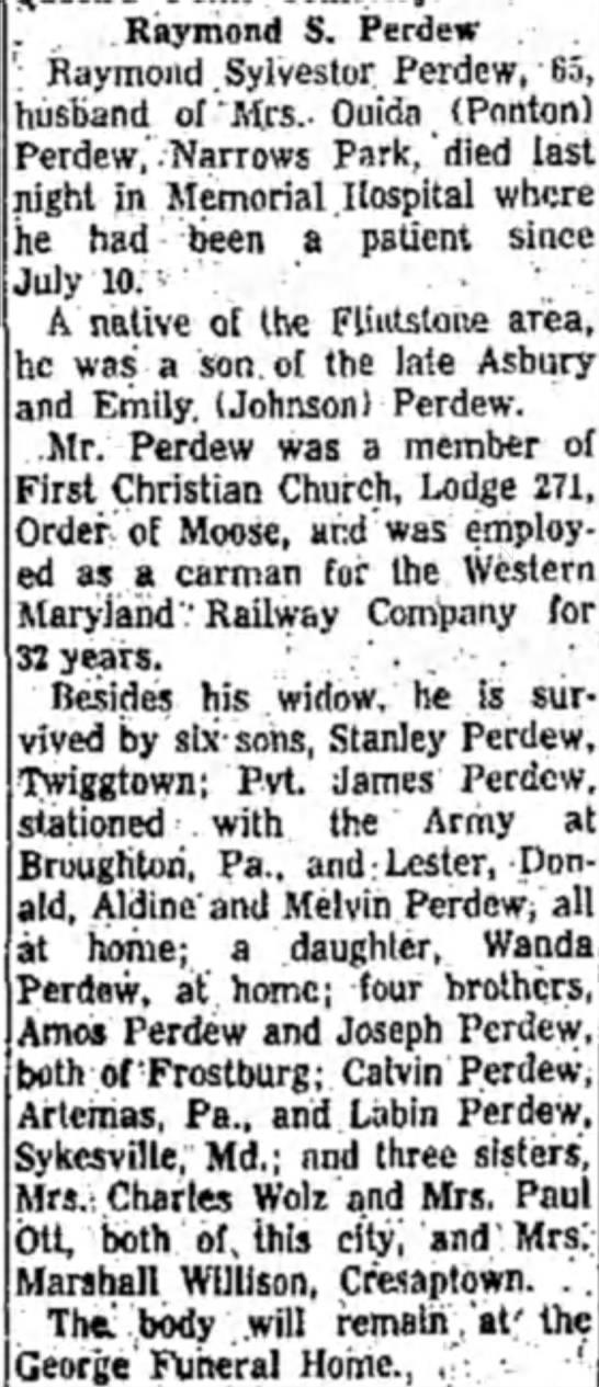 Obituary of Raymond S. Perdew - 5 Oct 1955 -