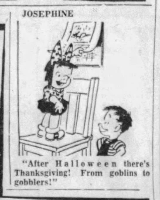 """From Halloween goblins to Thanksgiving gobblers"""" (1954). -"""