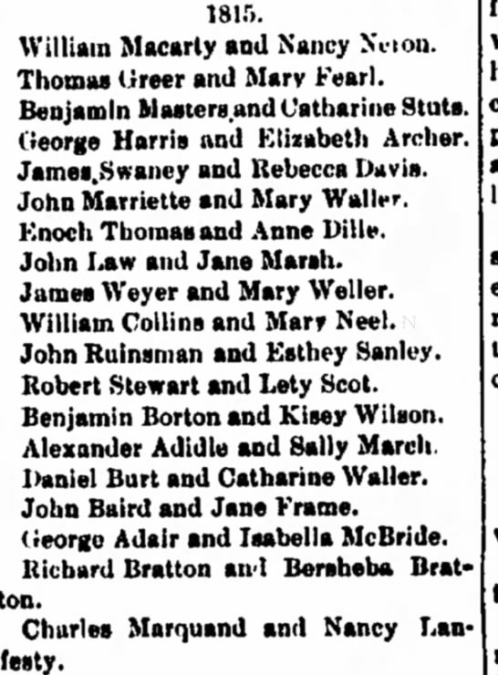 Early marriages published in Cambridge Jeffersoian Oct 16, 1884 Page 3 Charles and Nancy Marquand -