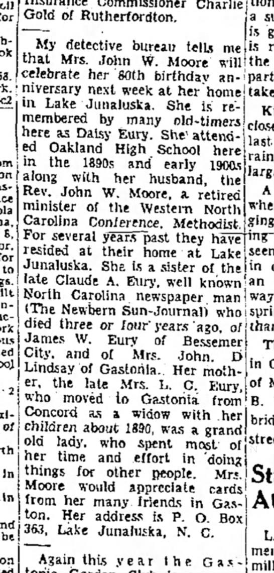 Birthday of Mrs. John Moore -