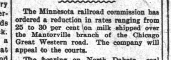 Rail Rates through Mantorville on Chicago Great Western -