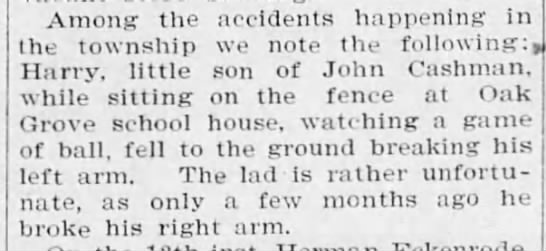 Social news: Two broken arms, 1902 -