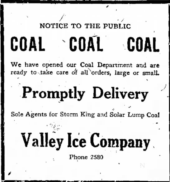 Valley Ice Company - 1920 -