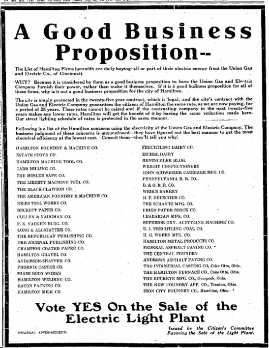 Vote Yes On Sale of the Electric Light Plant -