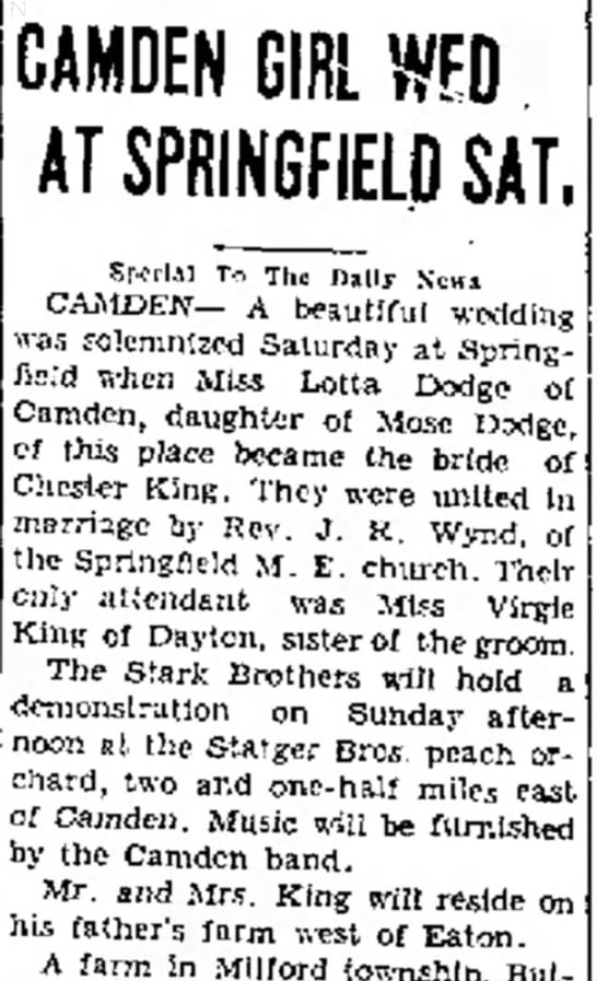 Lotta Dodge wedding 1931