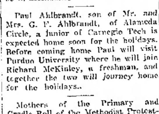 J. Paul Ahlbrandt home for the holidays 1926 -