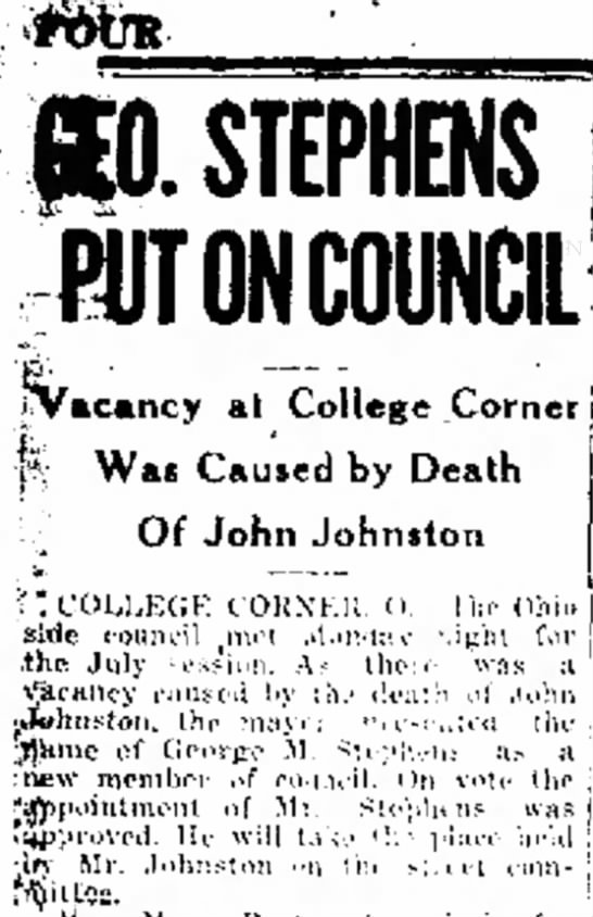 John Johnston, College Corner, Indiana