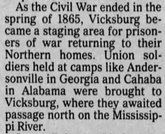 Prisoners of war returning home from Andersonville and Cahaba camps -