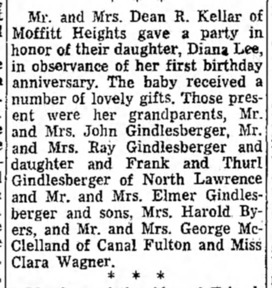 Birthday party report in the 10 September 1947 Evening Independent on page 15 -