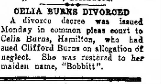 Celia divorced in 23 Jul 1934 issue of The Journal News (Hamilton, Ohio) p. 7 -