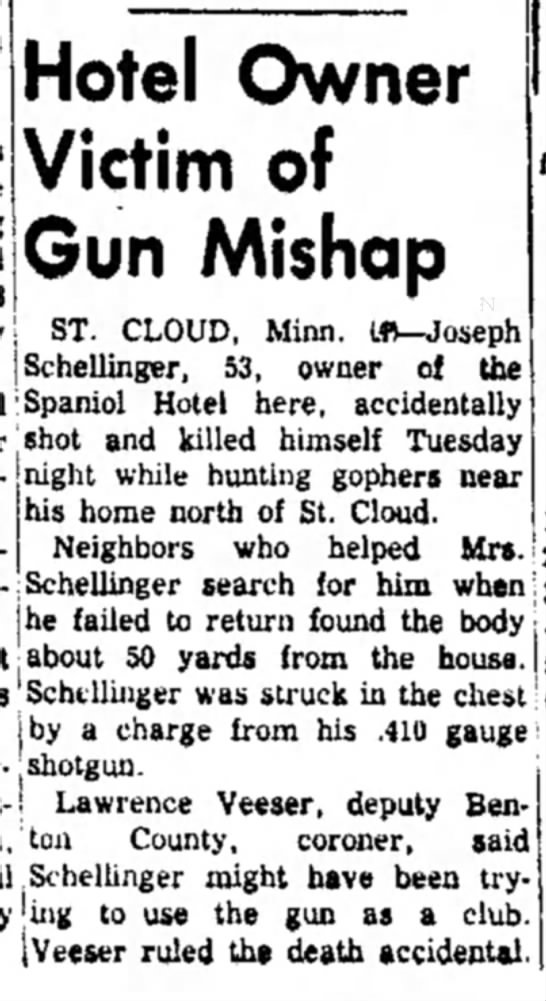 The Austin (Minnesota) Daily Herald, 29 May 1957, page 1. - Hotel Owner Victim of Gun Mishap ST. CLOUD,...