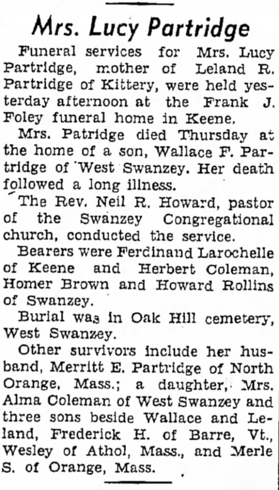 Obituary of Mrs. Lucy Partridge - Mrs. Lucy Partridge Funeral services for Mrs....