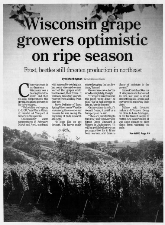 Wisconsin grape growers optimistic on ripe season 5/24/2012 -