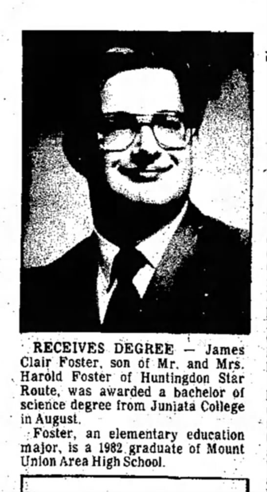 James Clair Foster-grad-TDN-p.11-16 Sep 1986 -
