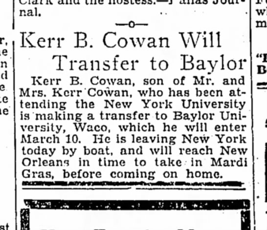 Corsicana Daily Sun 26 Feb 1930 - Journal. . Kerr B. Cowan Will Transfer to...