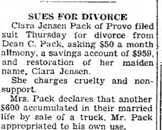 Divorce notice 12 July 1935, The Daily Herald (Provo, Utah) -