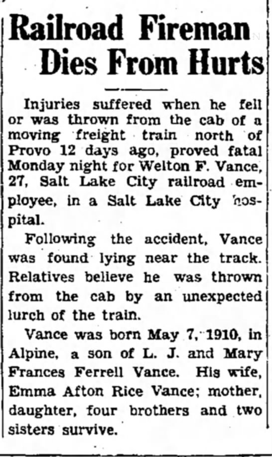 Welton's accident -