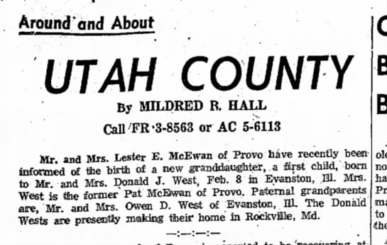 Vicki West makes Society Pg., Daily Herald 02-14-1961 -