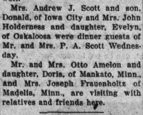 evelyn - Mrs. Andrew J. Scott and son, Donald, of Iowa...
