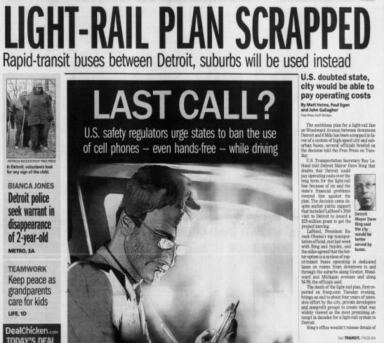 Light-Rail Plan Scrapped: Rapid-transit buses between Detroit, suburbs will be used instead -