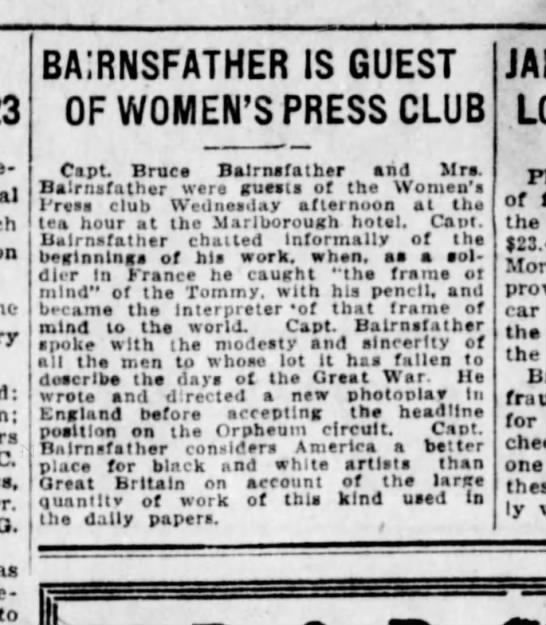 - C. O. to ba;rnsfather is guest of women's press...
