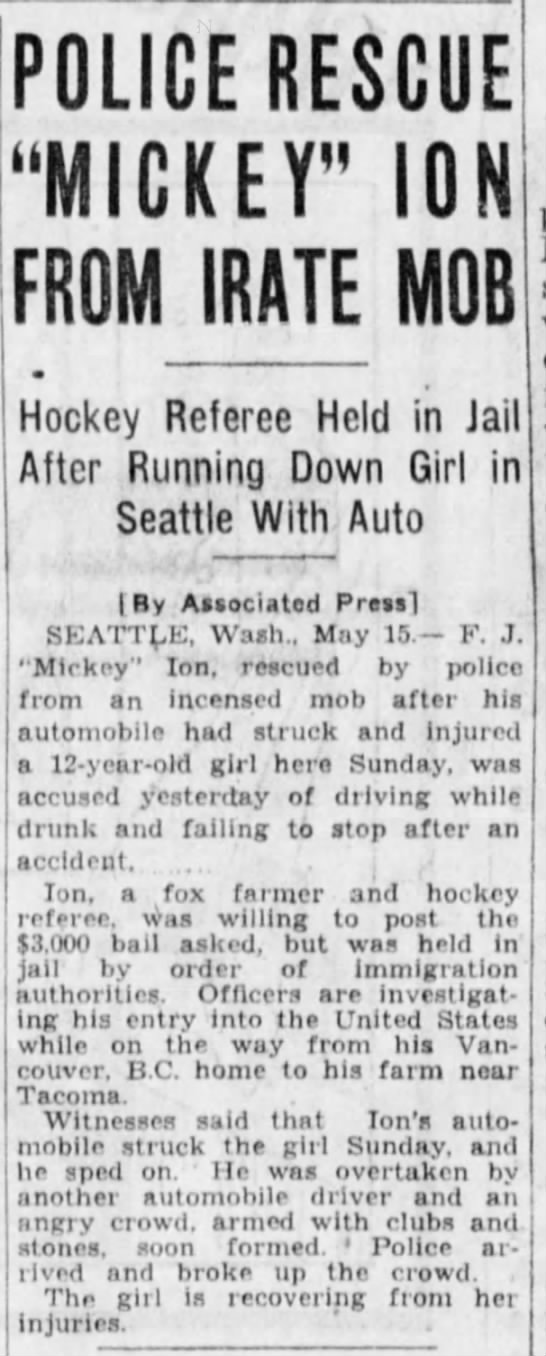 """- POLICE RESCUE """"MICKEY"""" ION FROM IRATE MOB..."""
