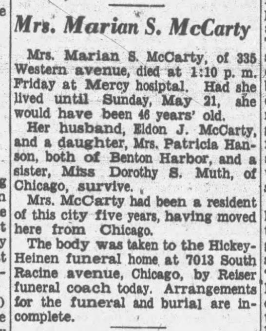 Marian S McCarty -