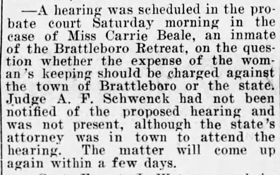 Miss Carrie Beale, inmate at Brattleboro Retreat -