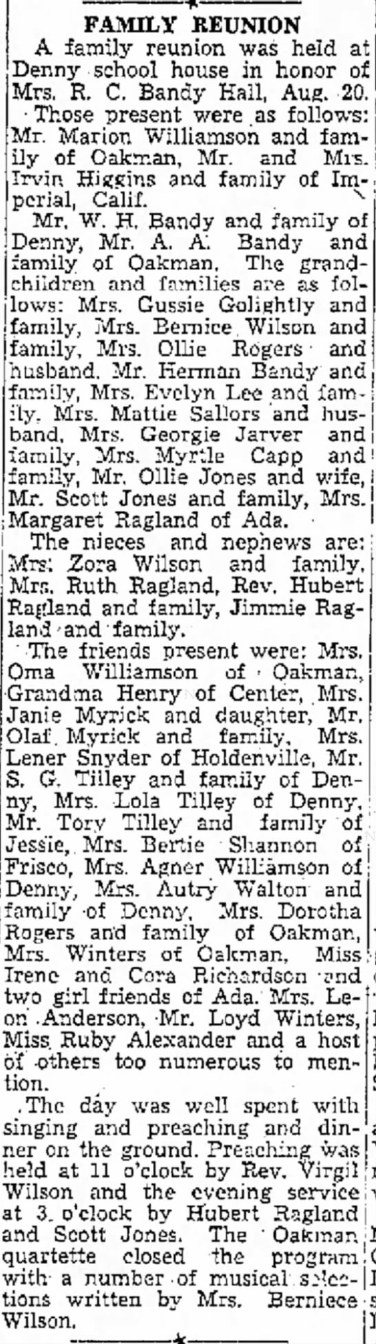 Bandy Family Reunion August 20, 1939 in Denny, Oklahoma - husband following . entitled-to and FAMILY...