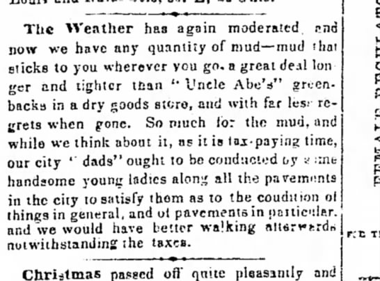 Zanesville Daily Courier 27 dec. 1864 weather -