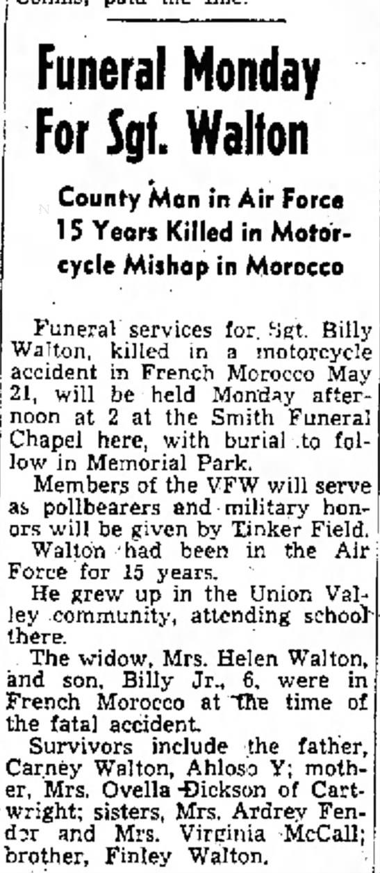 Billy Jewell Walton obit Ada Weekly News 4 Jun 1953 p 1 -
