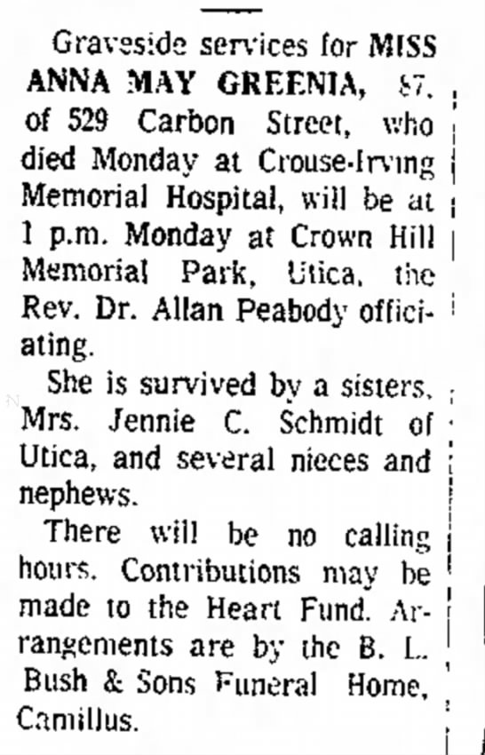Death notice Miss Anna May Greenia -