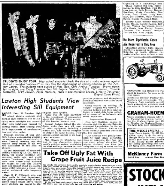 Joyce Hankins tours communication dept at Ft Sill-The Lawton Constitution 15Feb1948 -