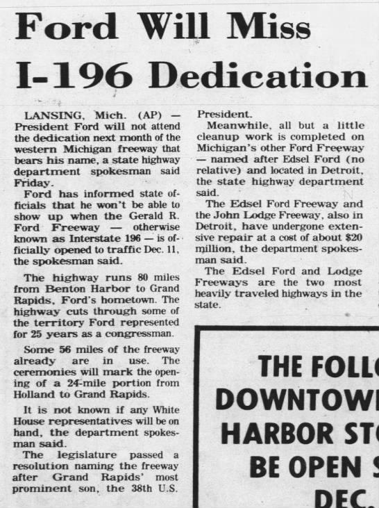 Ford Will Miss I-196 Dedication -