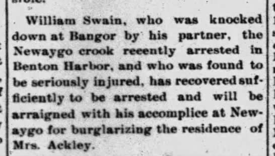 William Swain - . William Swain, who was knocked down at Bangor...