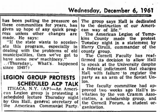 Harry Cirulli protests communist speaker at Cornell -