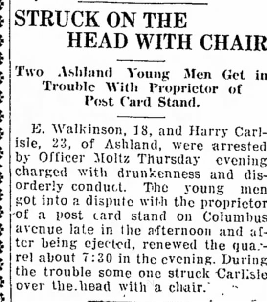 - STRUCK ON THE HEAD WITH CHAIR Two Ashland Young...