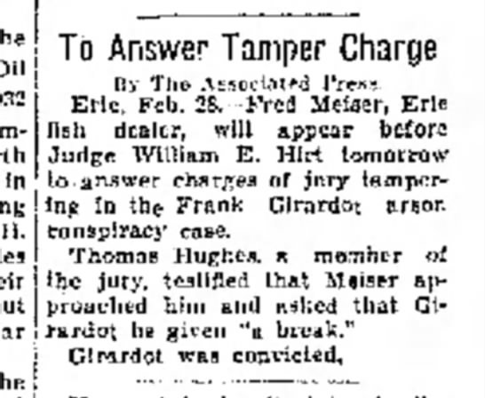To Answer Tamper Charge - The Oil City Derrick (Oil City, PA) - 29 Feb 1832 -