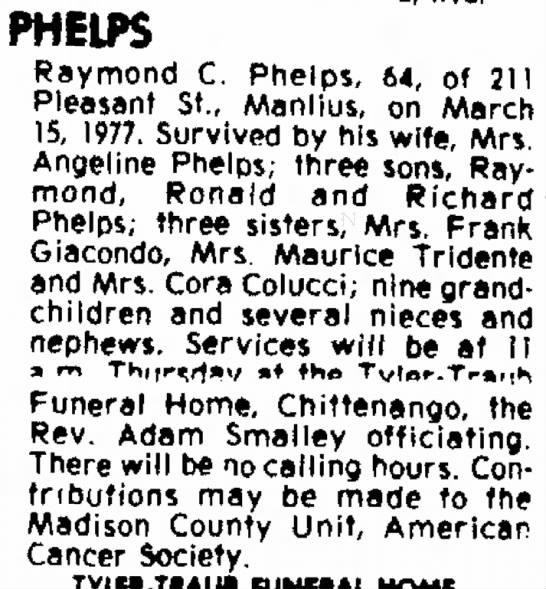 Raymond C. Phelps Obit -
